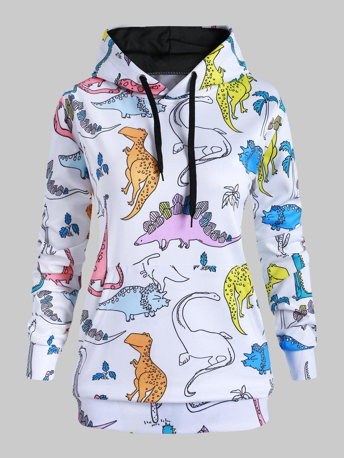 Dinosaurs Print Drawstring Front Pocket Plus Size Hoodie - multicolor A L