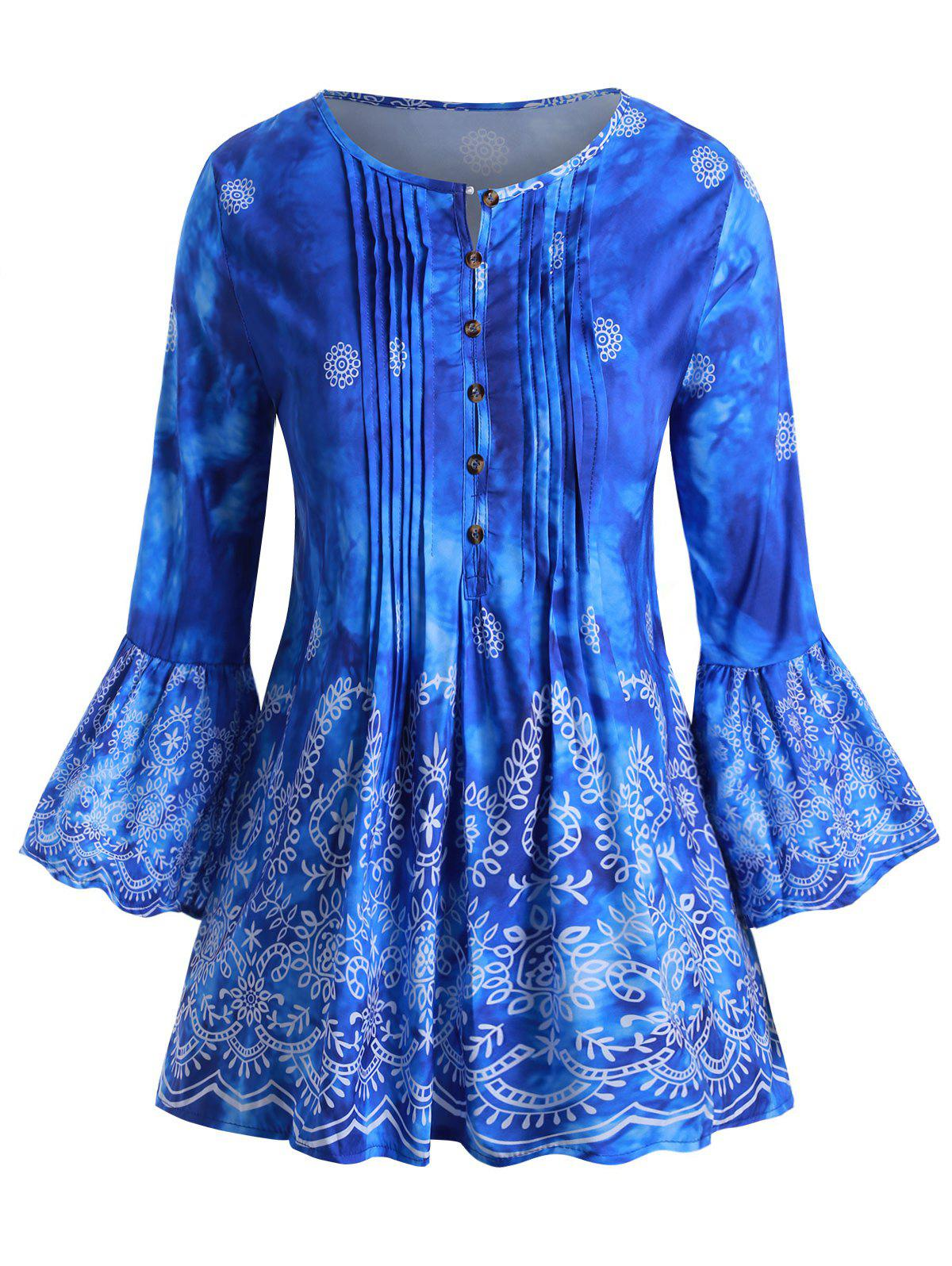 Printed Button Loop Front Pintuck Plus Size Blouse - BLUE 1X