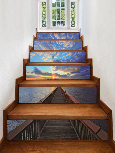 Stickers d'escalier amovibles avec impression de la mer 3D - multicolor A 6PCS X 39 X 7 INCH( NO FRAME )