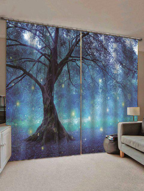 2 Panels Print Tree Glowworm Waterproof Window Curtains - multicolor W30 X L65 INCH X 2PCS