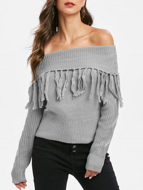 Tassel Off Shoulder Foldover Jumper Sweater