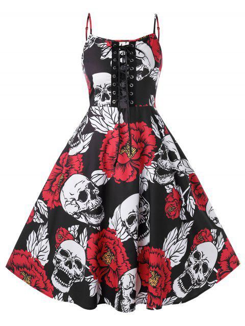 Plus Size Lace Up Skull Floral Print Halloween Vintage Dress - BLACK 1X