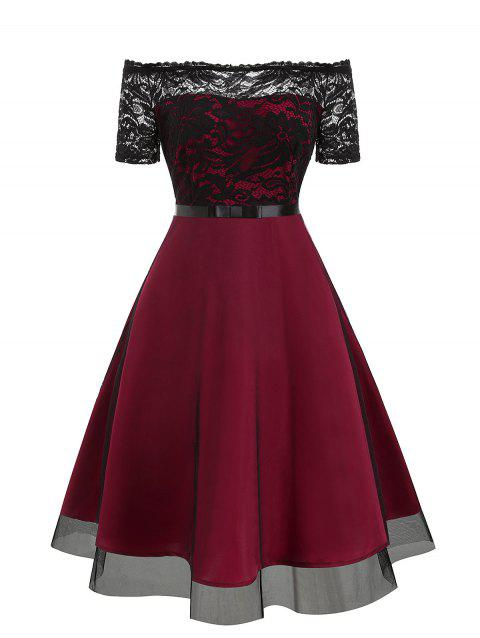 Lace Bodice Off The Shoulder Semi Formal Dress - RED WINE L