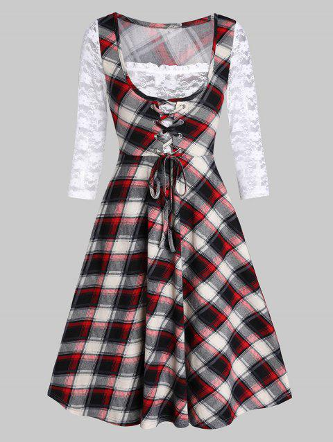 Lace Up Plaid Fit And Flare High Waist Dress - WHITE 3XL