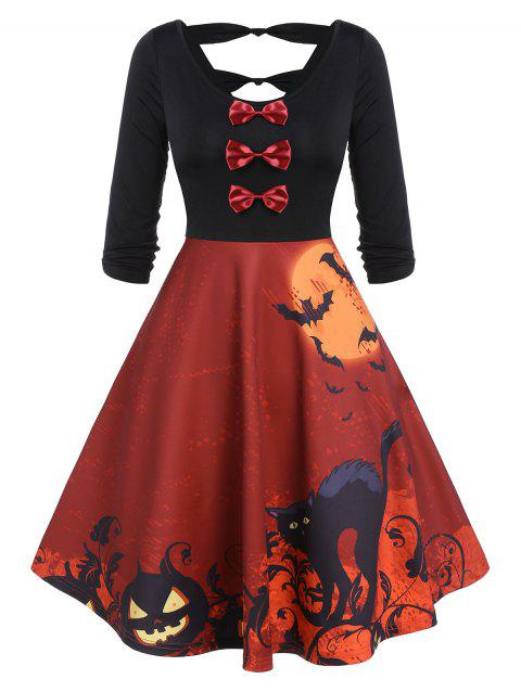 Vintage Halloween Bowknot Cut Out Printed Party Dress - RED 3XL
