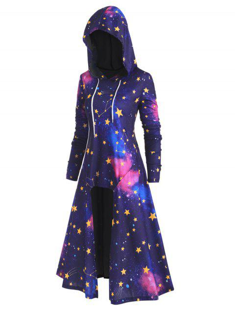 Plus Size Drawstring 3D Galaxy High Low Long Hoodie - multicolor A 1X