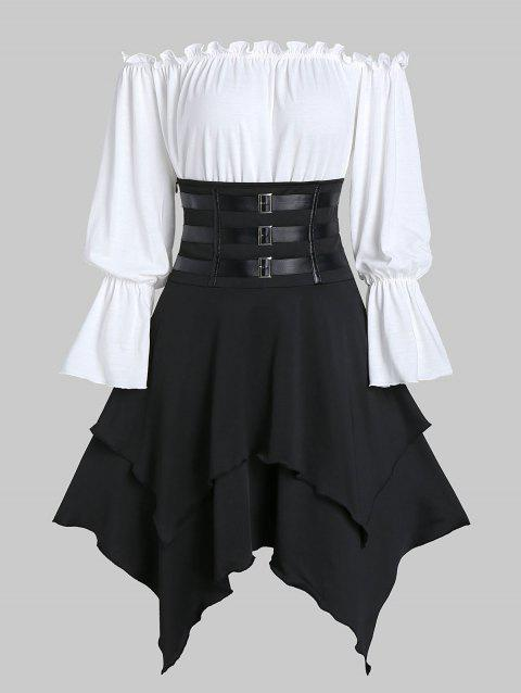 Faux Leather Strap Lace-up Layered Handkerchief Skirt with Bardot Top