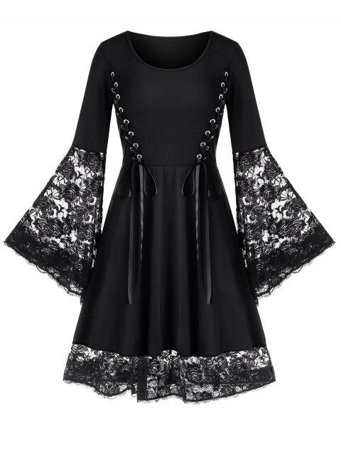 Plus Size Bell Sleeve Lace Up Flare Dress