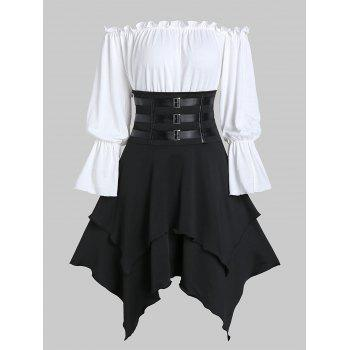 Poet-Sleeve-Bardot-Top-and-Faux-Leather-Strap-Handkerchief-Skirt