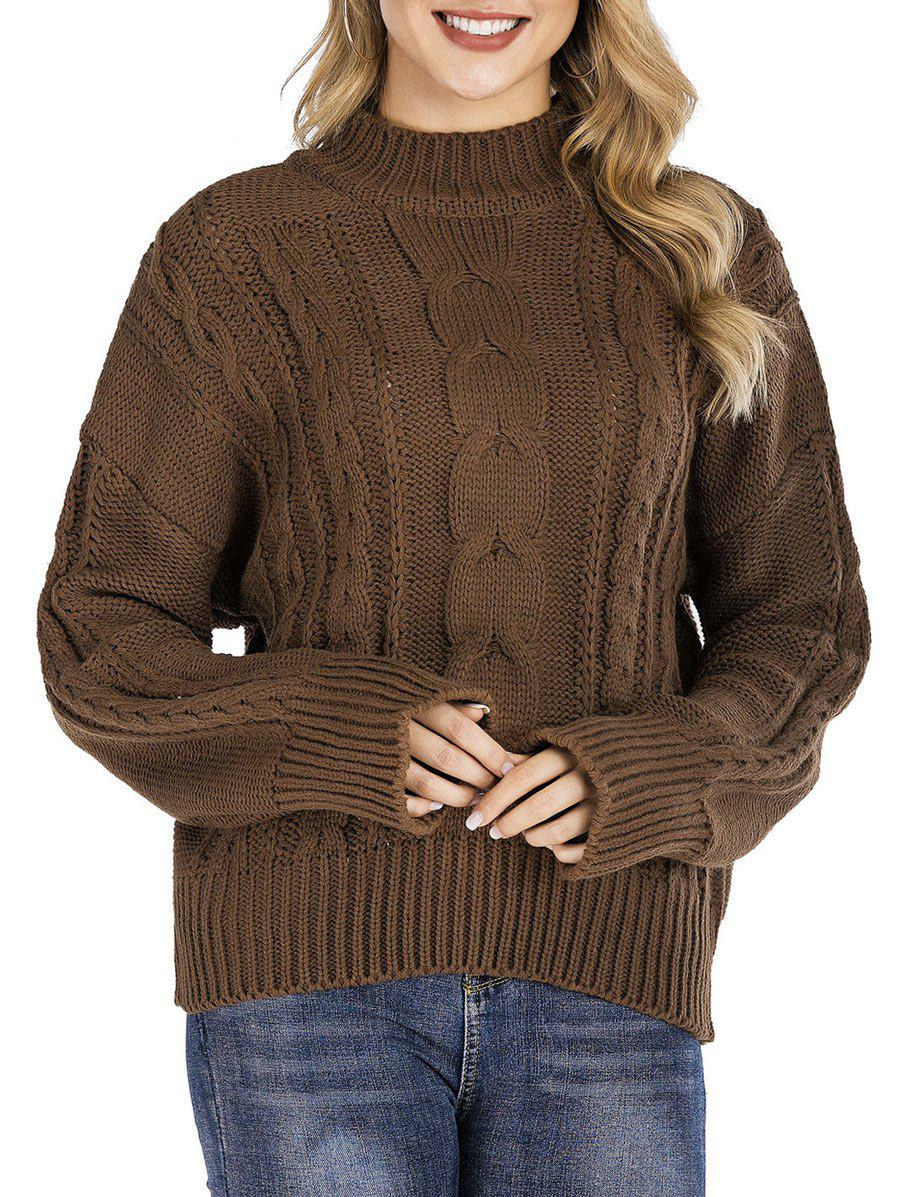 Mock Neck Cable Knit Chunky Sweater - BROWN ONE SIZE