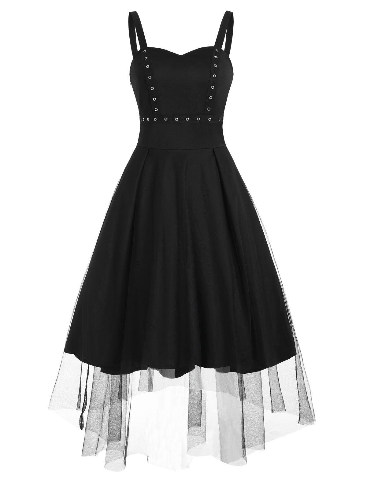 Grommet Mesh Overlay High Low Dress - BLACK S