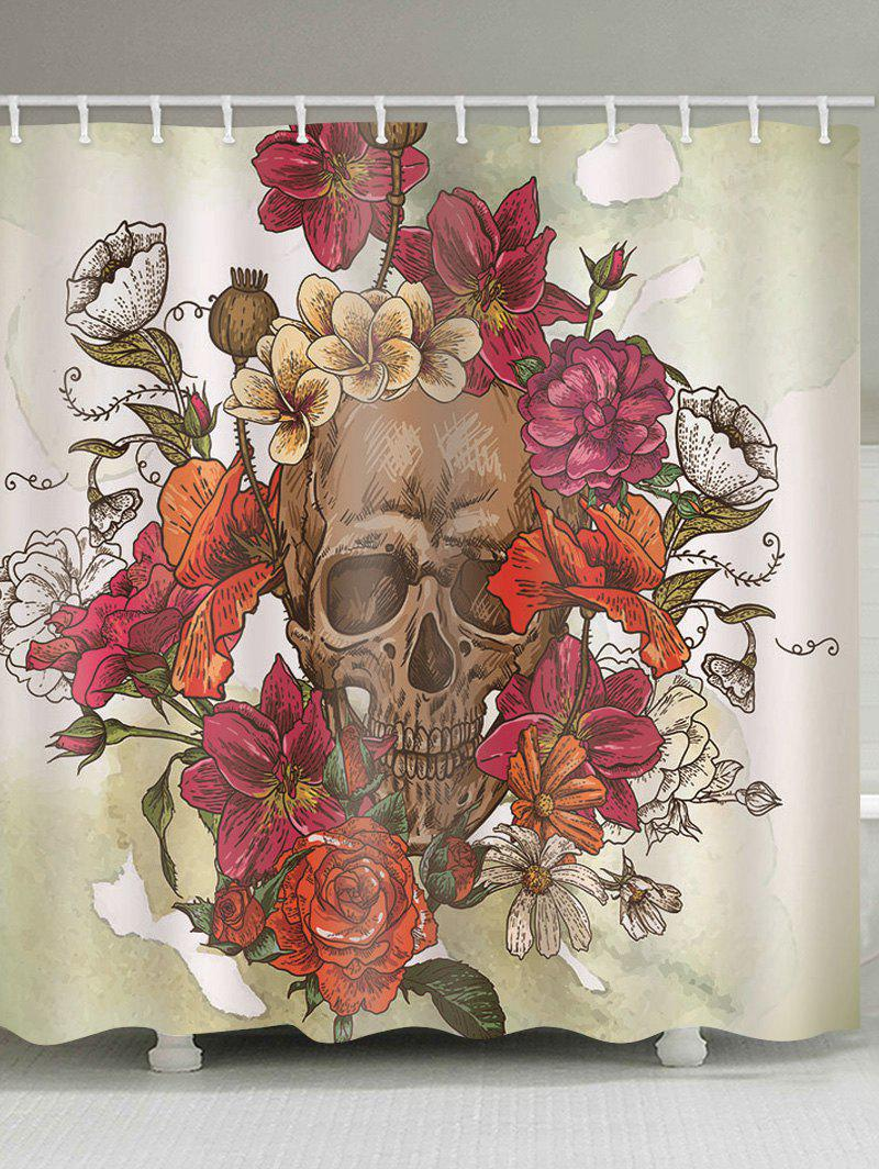 Skull Flower Pattern Shower Curtain - multicolor B 180*200CM