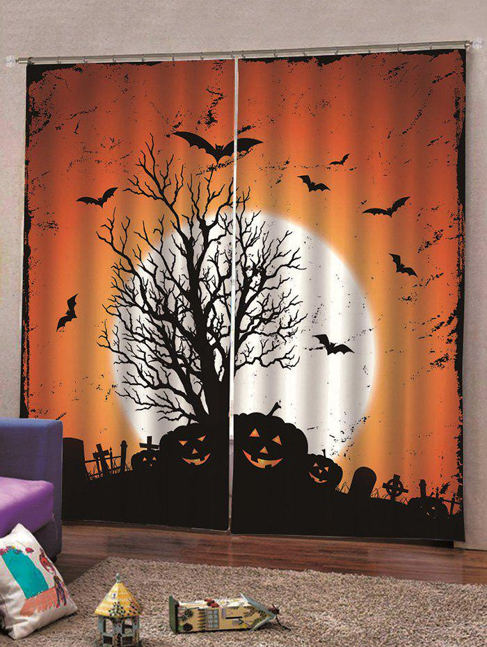 2PCS Halloween Pumpkin Bat Window Curtains