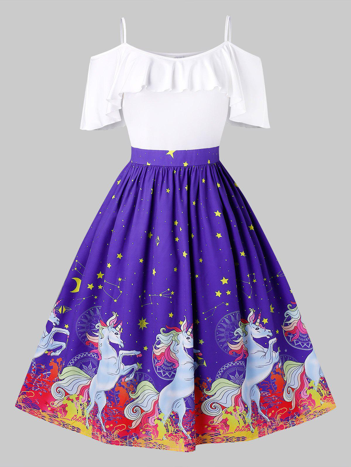 Plus Size Cold Shoulder Ruffled Unicorn Print Christmas Dress - BLUEBERRY BLUE 4X