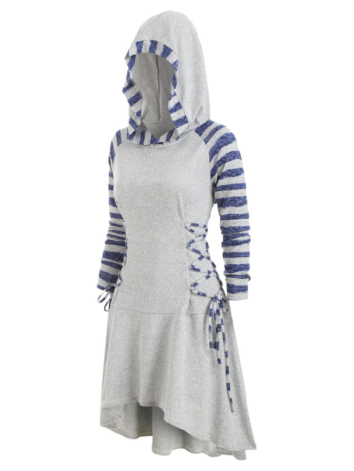 Striped Lace Up Hooded High Low Dress - GRAY CLOUD 2XL