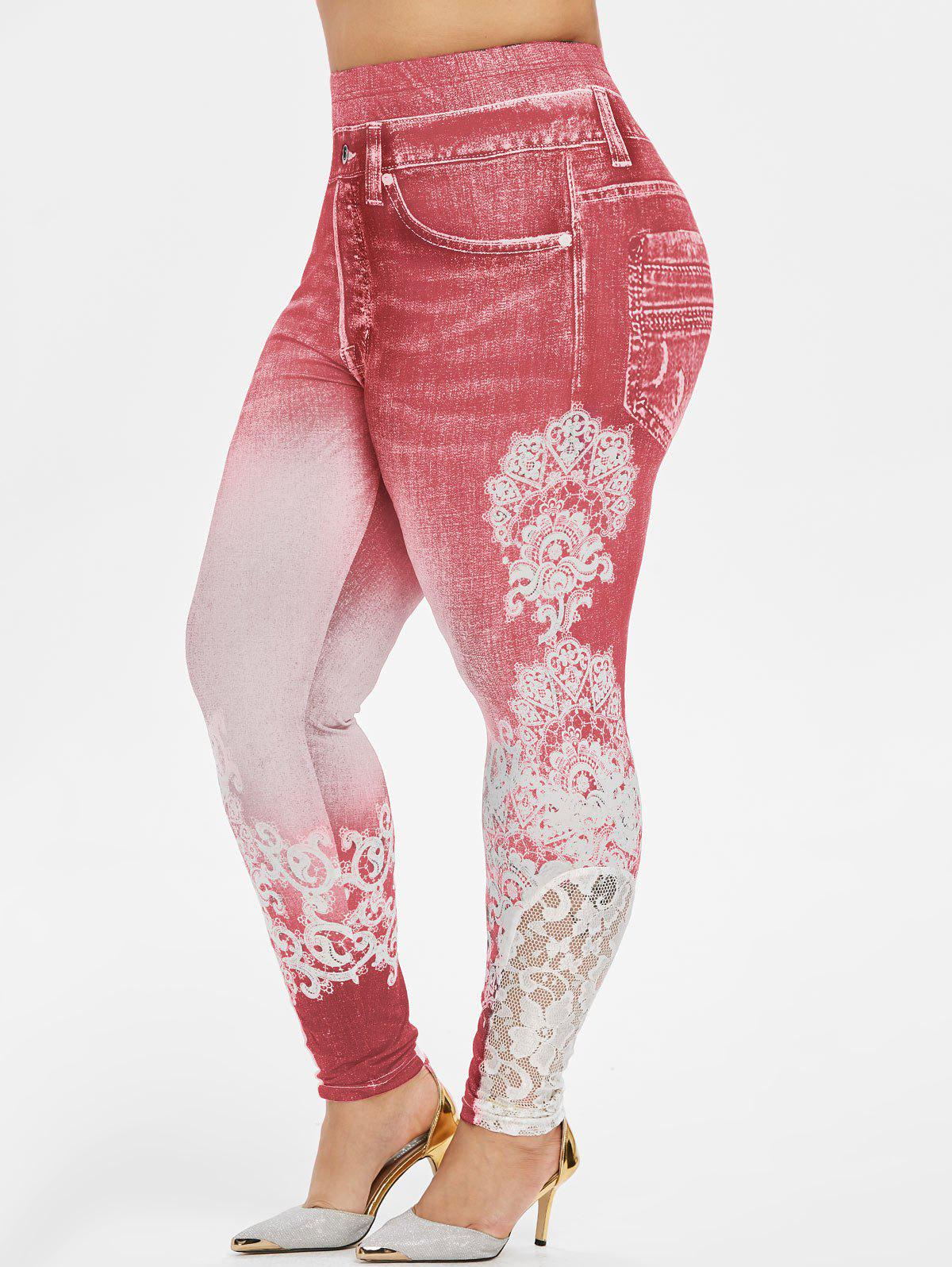 Plus Size 3D Print Lace Insert Jeggings - RED 3X