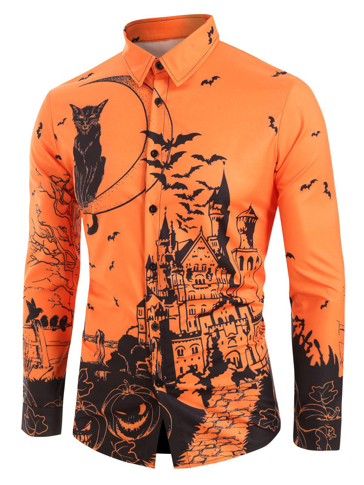 Cat Pumpkin Print Long Sleeves Shirt - multicolor 2XL