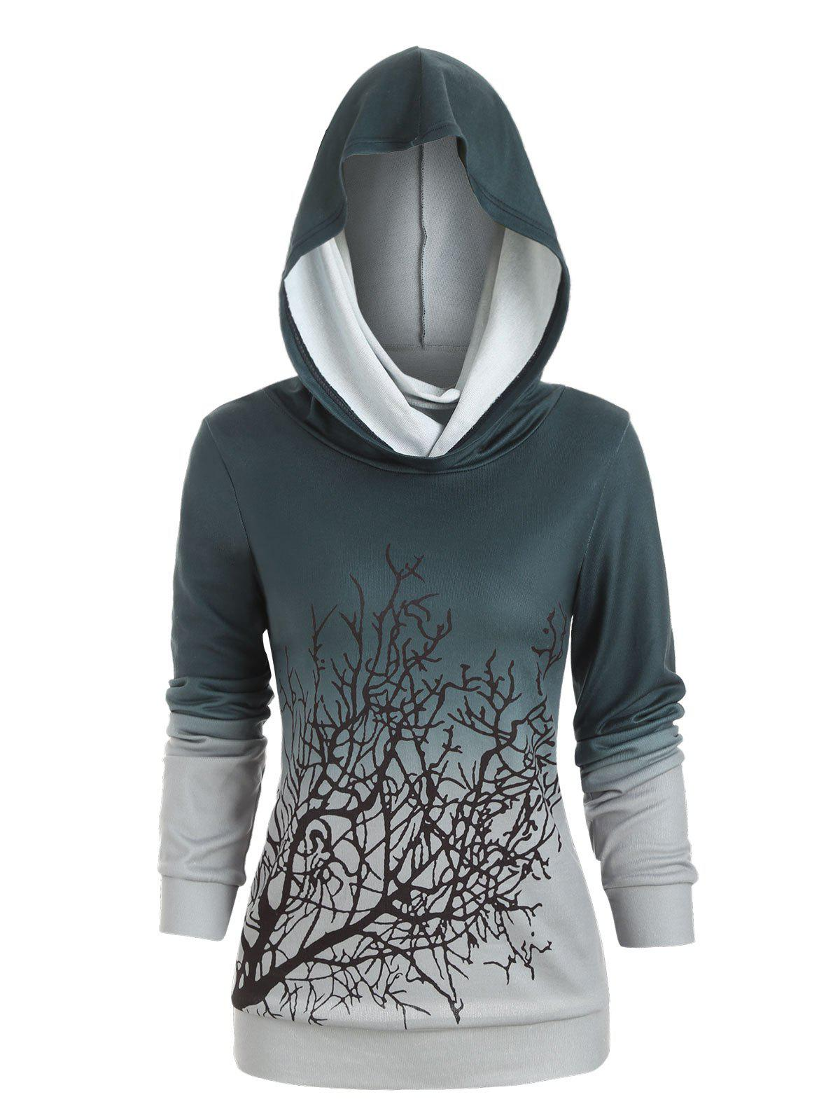 Halloween Tree Print Convertible Collar Sweatshirt - MEDIUM SEA GREEN 2XL