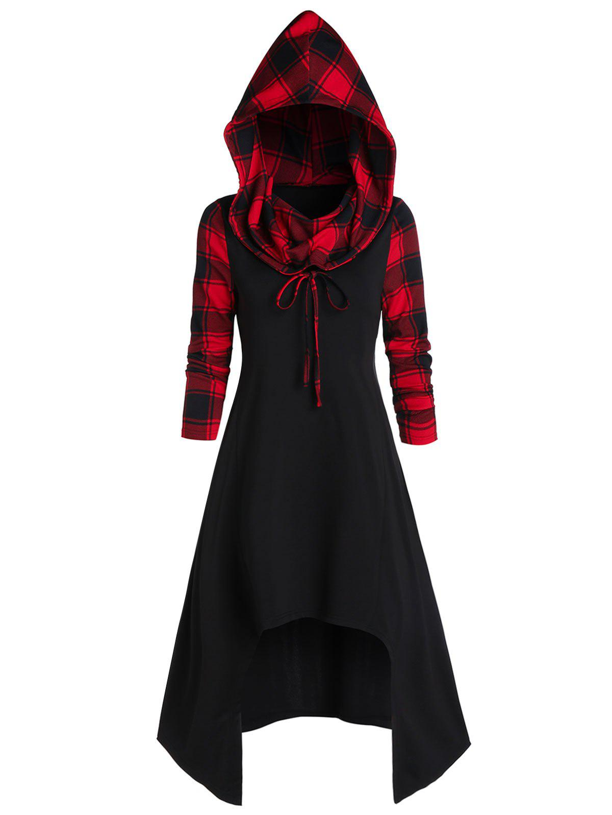 Hooded Plaid High Low Convertible Midi Dress - BLACK S