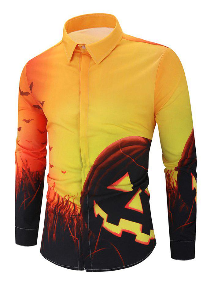 Halloween Pumpkin Bat Print Long Sleeve Button Shirt - multicolor 2XL