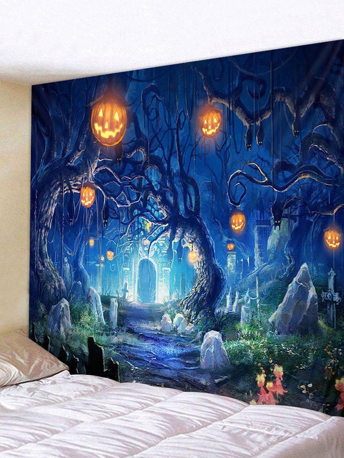 Halloween Pumpkin Lamp Tree Grave Printing Tapestry - DENIM DARK BLUE W59 X L51 INCH