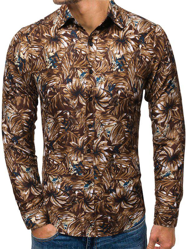 Plant Print Button Up Long-sleeved Shirt - COFFEE M