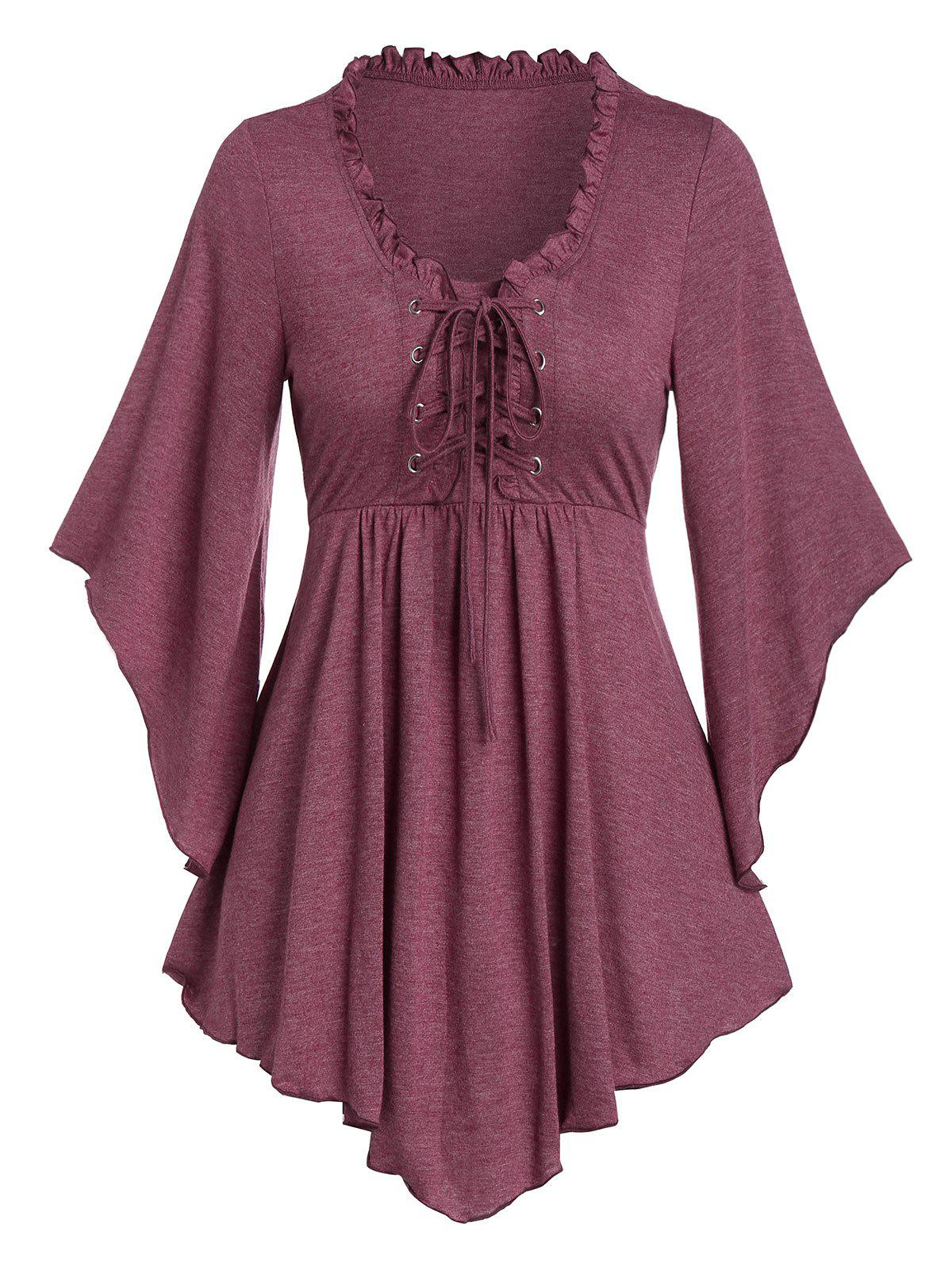 Flare Sleeve Lace-up Front Pointed Hem Flare T-shirt - TULIP PINK 2XL