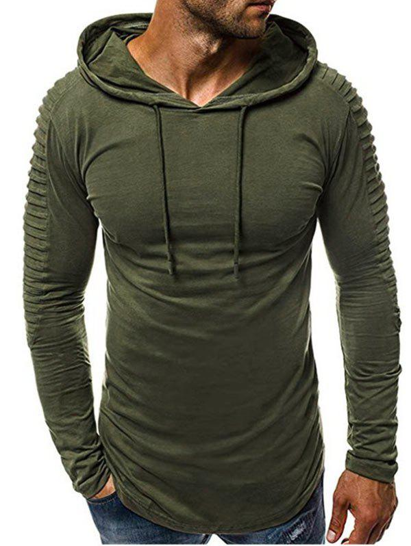 Solid Color Drape Panel Design Hoodie - ARMY GREEN S