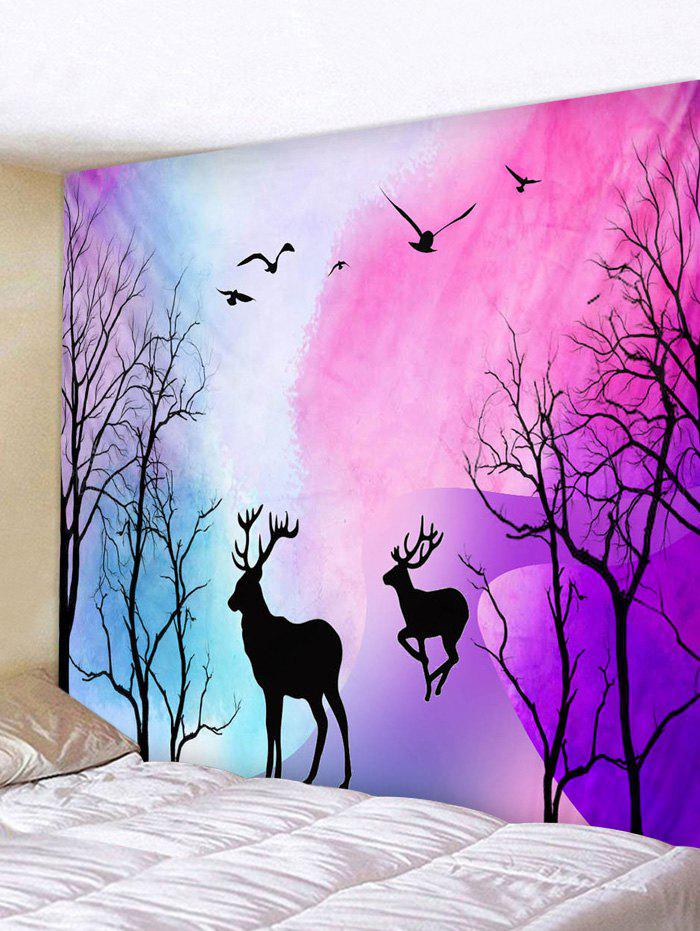 Forest Deer Printed Wall Tapestry - TYRIAN PURPLE W91 X L71 INCH