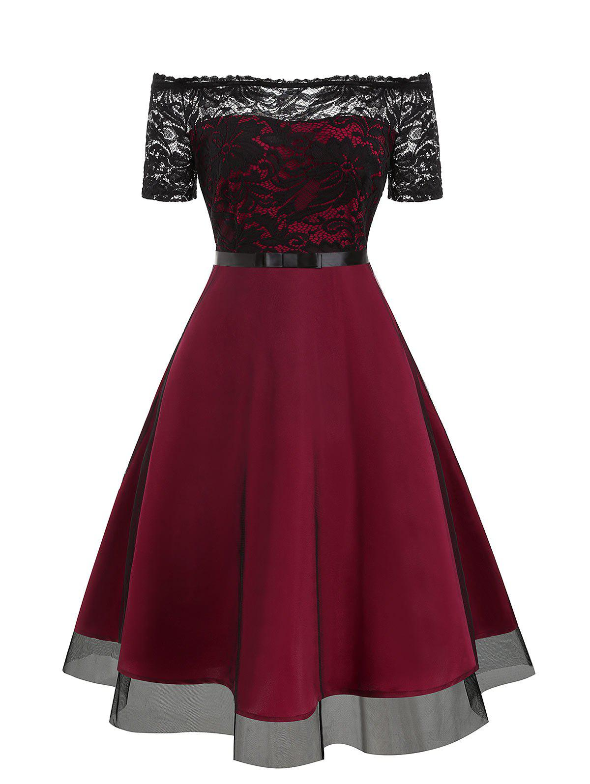 Lace Bodice Off The Shoulder Semi Formal Dress - RED WINE 3XL