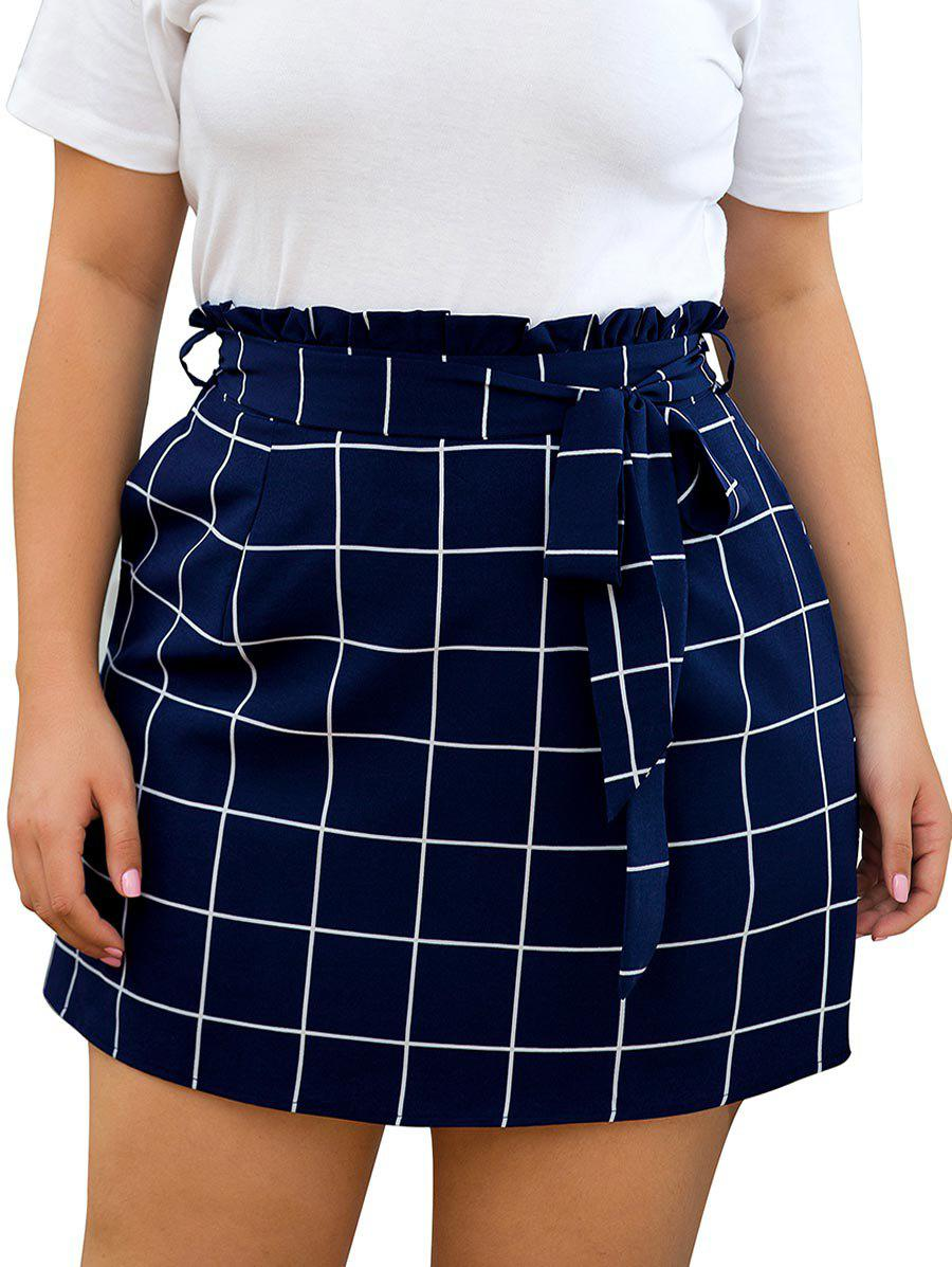 Plus Size Grid Print Belted Paperbag Skirt - LAPIS BLUE 1X