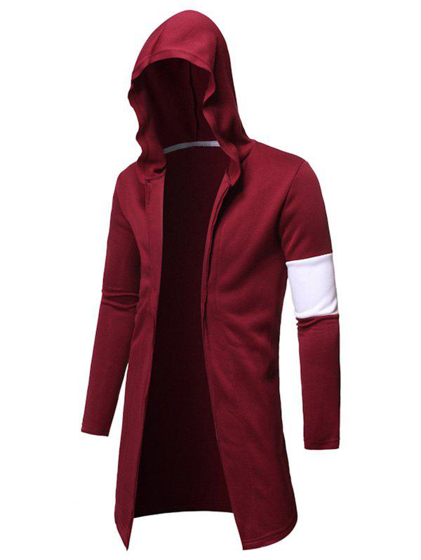 Open Front Splicing Hoodie - RED 2XL