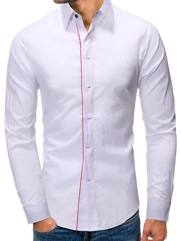 Casual Button Up Long Sleeves Base Shirt - WHITE M