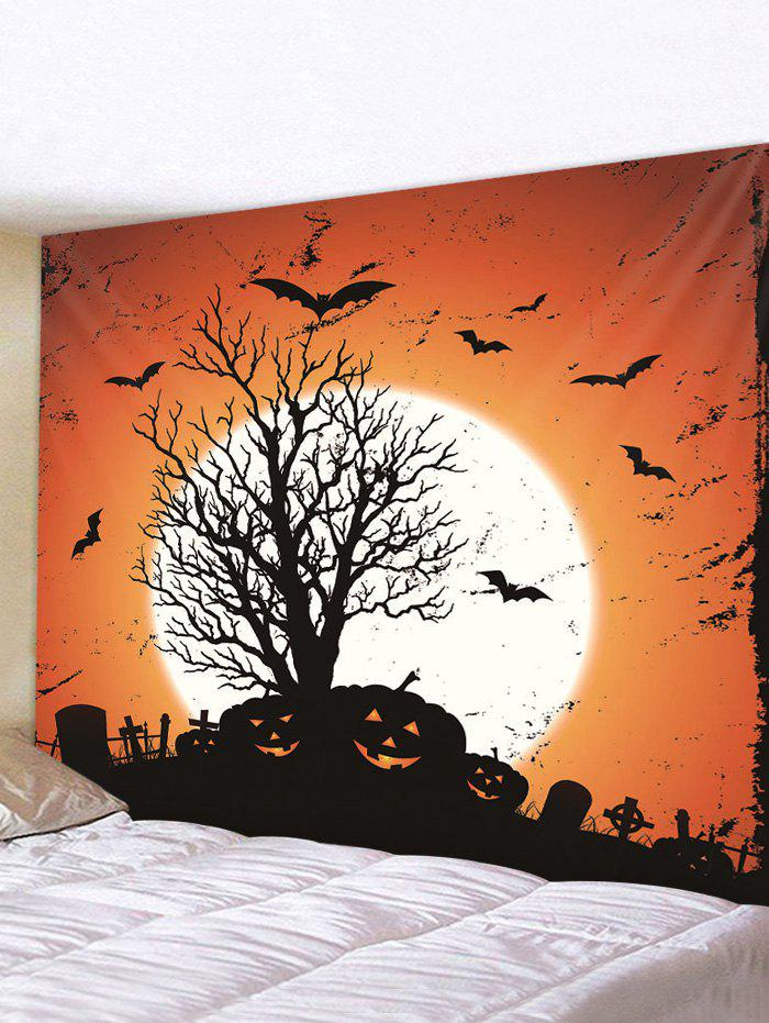 Halloween Pumpkin Tree Moon Printing Wall Tapestry - multicolor A 150*150CM