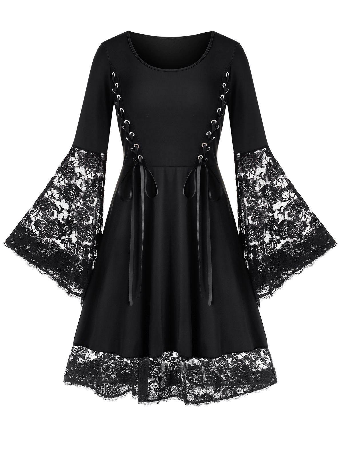Plus Size Bell Sleeve Lace Up Flare Dress - BLACK L