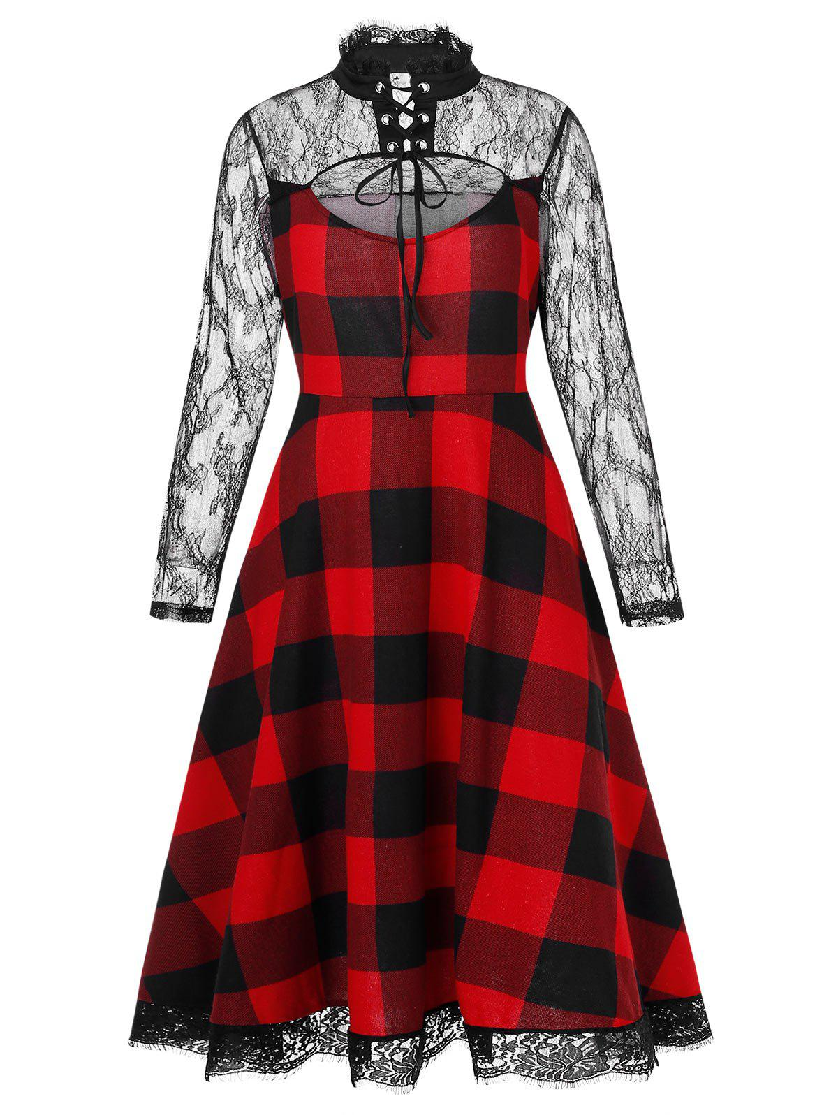 Plus Size Cut Out Lace Insert Plaid Halloween Dress - RED WINE 5X