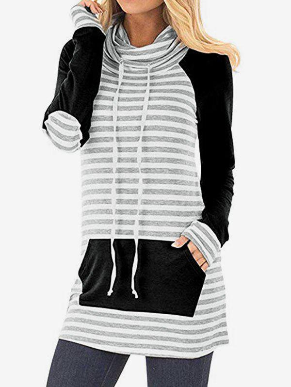 Cowl Neck Striped Elbow Patch Tunic Sweatshirt - BLACK L