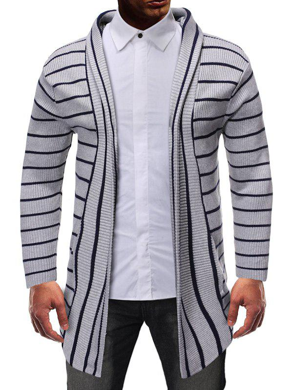 Striped Design Open Front Knitted Hooded Cardigan - GRAY XS