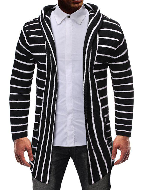 Striped Design Open Front Knitted Hooded Cardigan - BLACK XS