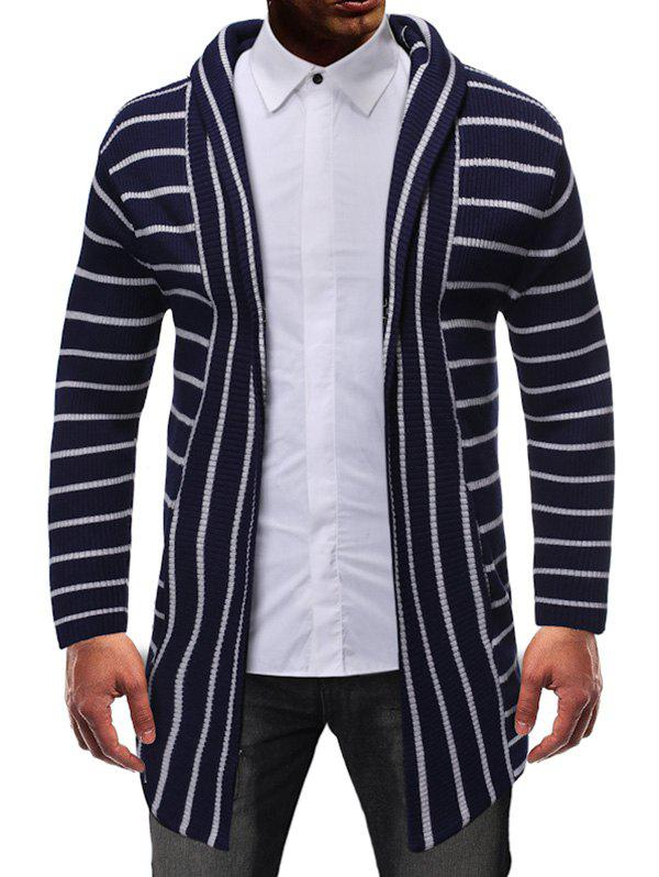 Striped Design Open Front Knitted Hooded Cardigan - CADETBLUE S