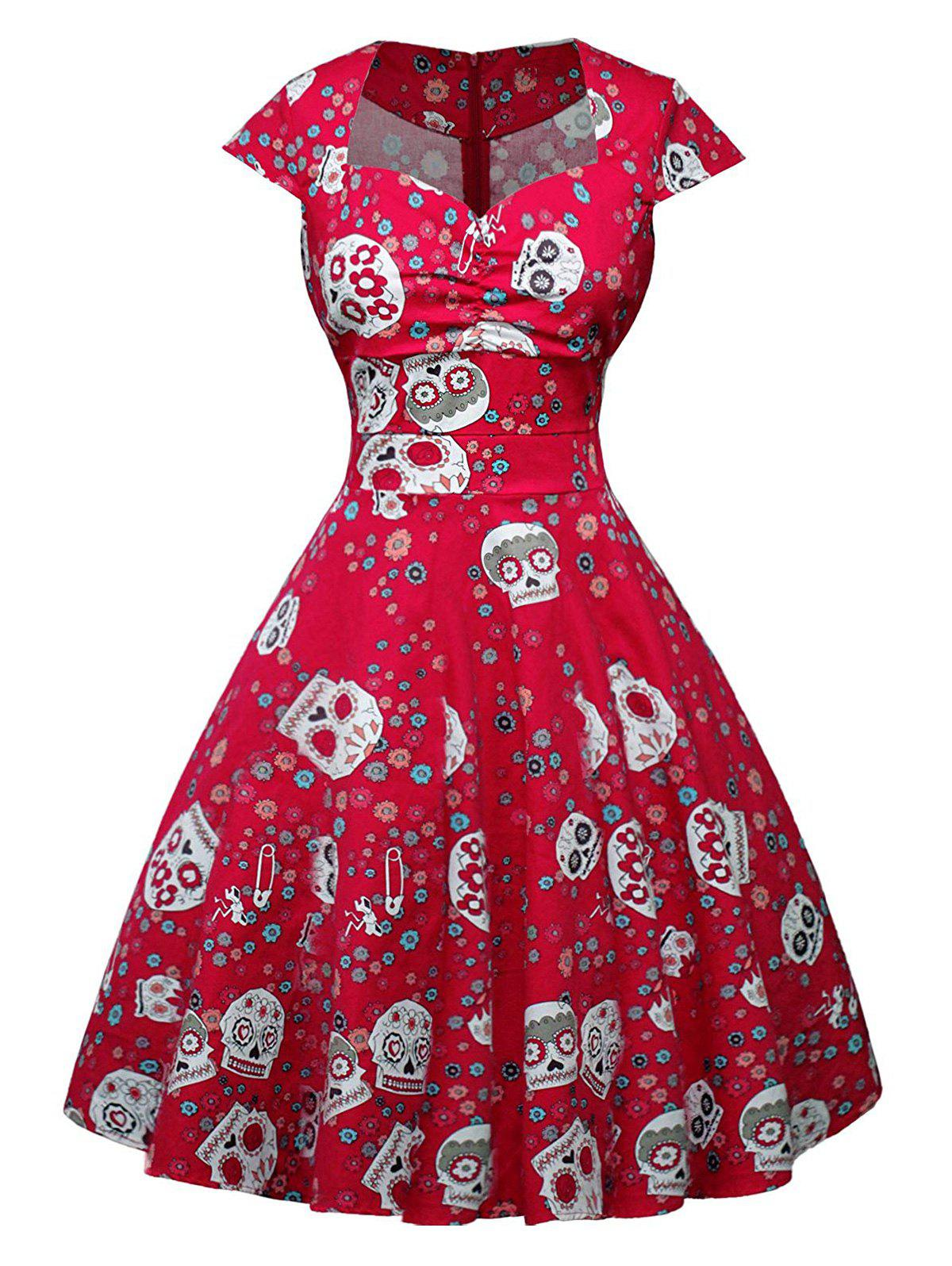 Halloween Skull Floral Print Sweetheart Neck A Line Retro Dress - RED L