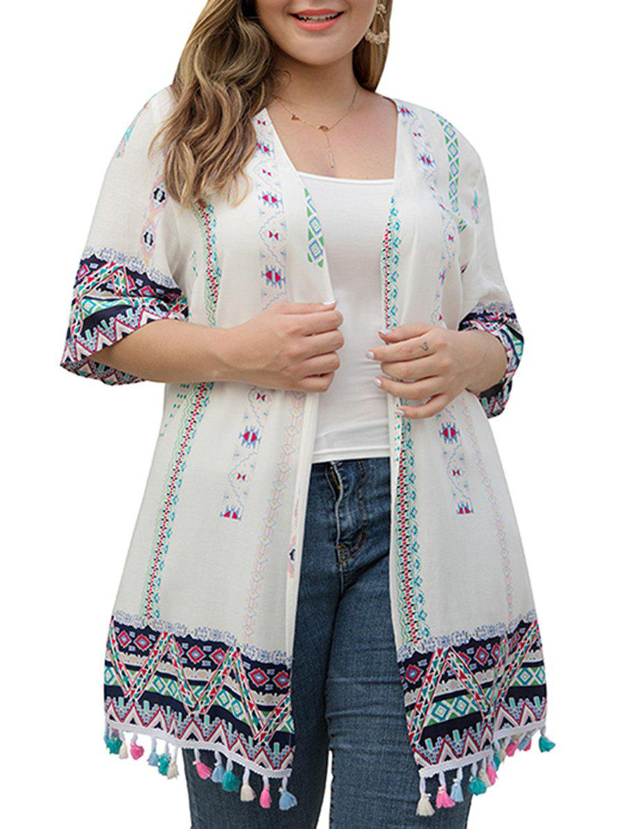 Geometry Open Front Tassel Cover Up - WHITE 4X