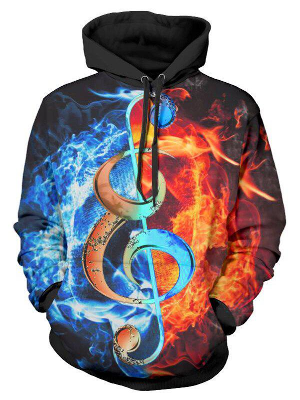 Music Note Fire 3D Print Drawstring Hoodie - multicolor L