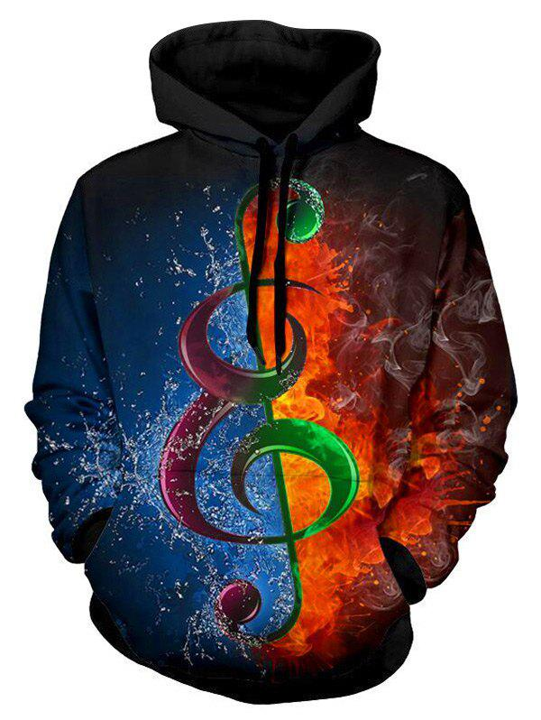Water and Fire Music Note Print Drawstring Hoodie - multicolor XL