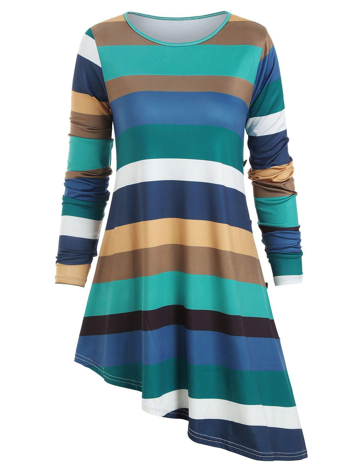 Contrast Striped Asymmetric Long Sleeves Tee - multicolor B L