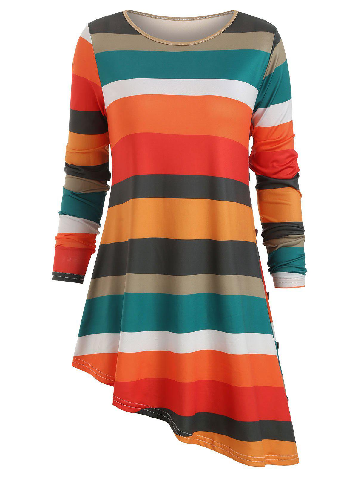 Contrast Striped Asymmetric Long Sleeves Tee - multicolor C L