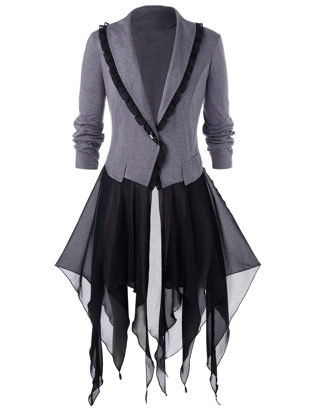 Plus Size Handkerchief Chiffon Insert Halloween Coat - GRAY L