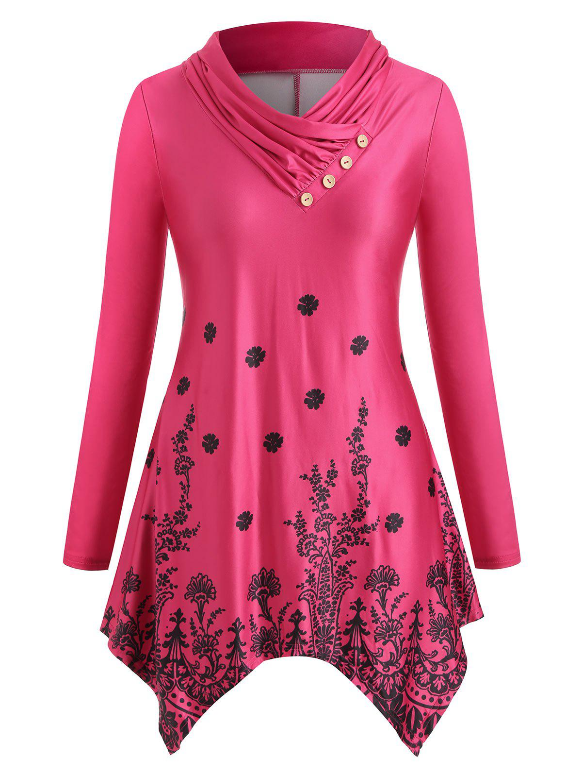 Cowl Neck Plant Print Plus Size Long Sleeve Tunic Top - WATERMELON PINK 4X