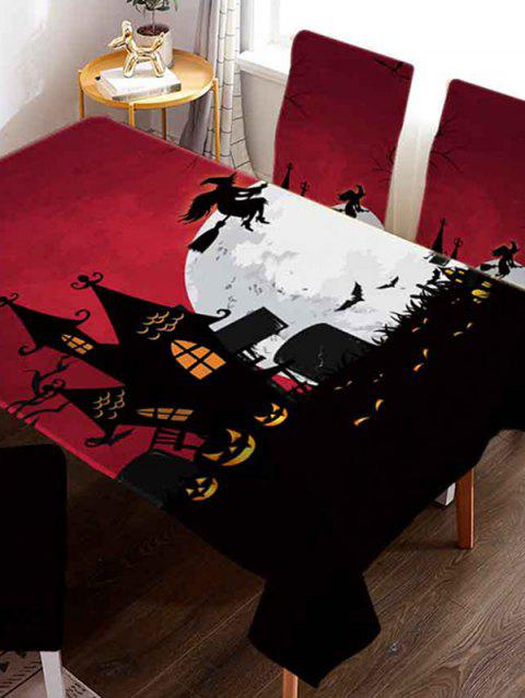 Halloween Castle Witch Digital Printed Tablecloth - multicolor W60 X L84 INCH