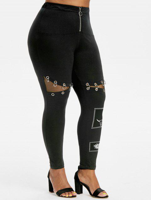 Gothic Style Half Zip O Ring Grommet Printed Plus Size Leggings - BLACK 3X